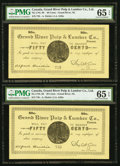 Canadian Currency, Grand River, NL- Grand River Pulp & Lumber Co. 50¢ ND (ca.1900) Ch. UNL Two examples.. ... (Total: 2 notes)