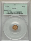 California Fractional Gold , 1856 50C Liberty Round 50 Cents, BG-434, Low R.4, MS63 PCGS. PCGS Population: (17/10). NGC Census: (5/3). ...