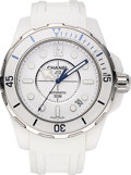 Estate Jewelry:Watches, Chanel Lady's White Ceramic, Stainless Steel J12 Marine Watch. ...