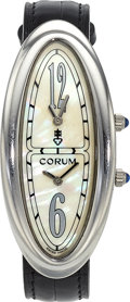 Estate Jewelry:Watches, Corum Lady's Mother-of-Pearl, Stainless Steel, Ovale Bi-Time Watch....