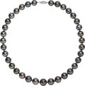 Estate Jewelry:Necklaces, Black South Sea Cultured Pearl, White Gold Necklace. ...