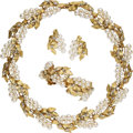 Estate Jewelry:Suites, Diamond, Cultured Pearl, Gold Jewelry Suite, Wordley, Allsopp &Bliss. ... (Total: 3 Items)