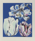 Fine Art - Work on Paper:Print, Lowell Nesbitt (1933-1993). Flowers on Blue, 1980.Screenprint in colors on paper. 29-7/8 x 26-3/8 inches (75.9 x 67cm)...