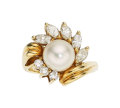 Estate Jewelry:Rings, Diamond, Cultured Pearl, Gold Ring, Black, Starr & Frost. ...