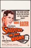 "Movie Posters:Crime, Shadows in the Night (Columbia, 1944). Very Fine. Window Card (14"" X 22""). Crime.. ..."