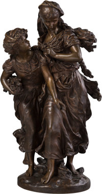 Hippolyte Moreau (French/American, 1832-1927) Fagoteuses dans le vent, 1889 Bronze with brown patina