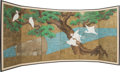 Asian:Japanese, A Pair of Japanese Six Panel Room Screens with Crane Motifs, lateMeiji-Taisho Period. Marks: Multi-character signatures. 65...(Total: 2 Items)