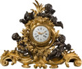 Clocks & Mechanical:Clocks, A Large Victor Paillard Louis XV-Style Gilt and Patinated Bronze Figural Mantel Clock, circa 1875. Marks to clock face and b...