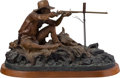 Fine Art - Sculpture, American, William Koelpin (American, 1938-1996). The Buffalo Hunter,1990. Bronze with brown patina. 11-1/2 inches (29.2 cm) high ...