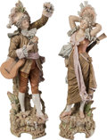 Ceramics & Porcelain, Continental:Antique  (Pre 1900), A Pair of Large Dresden-Style Porcelain Figurines: Musicians, late 19th-early 20th century. 31-1/2 inches (80.0 cm). PROPE... (Total: 2 Items)