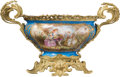 Ceramics & Porcelain, A Sèvres-Style Gilt Bronze-Mounted Porcelain Centerpiece Bowl, France, late 19th century . Marks: (pseudo Sèvres mark). 14-1...