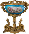 Ceramics & Porcelain, A Sèvres-Style Porcelain Center Piece Bowl with Figural Gilt Bronze Mounts, France, late 19th century . 20 x 18-1/2 x 15-7/8...