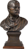 Fine Art - Sculpture, American, Bruce Brady (American, 1934-2000). Theodore Roosevelt, 1994.Bronze with brown patina. 17-1/2 inches (44.5 cm) high on a...