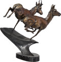 Fine Art - Sculpture, American, Robert G. Hancock (American, 20th Century). Running Deer,1986. Bronze with brown patina. 15 inches (38.1 cm) high on a ...
