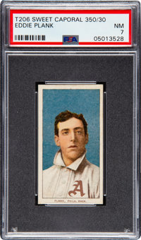 1909-11 T206 Sweet Caporal 350/30 Eddie Plank PSA NM 7 - Pop Three, One Higher