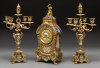 A Three-Piece Louis XV-Style GIlt Bronze and Champlevé Clock Garniture Retailed by Shreve, Crump & Low, circa...