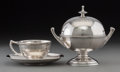 Silver Holloware, American:Other , A William K. Vanderslice Silver Covered Butter Dish with Cup andSaucer, San Francisco, California, circa 1870. Marks: (Vand...(Total: 3 Items)