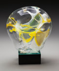 Art Glass:Other , A Peter Bramhall Blown Glass Daffodils on Lighted Base,circa 1988. Signed, dated and titled to the underside.. ...