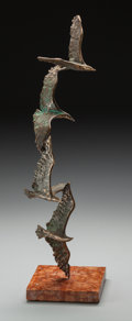 Fine Art - Sculpture, American, After Curtis Freiler and Jerry Fells (American, 20th Century).Seagulls, circa 1960. Bronze with greenish-brown patina. ...
