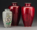 Other, A Group of Three Japanese Cloisonné Vases, 20th century. Marks: MADE IN JAPAN. 9-5/8 inches (24.4 cm). ... (Total: 3 Items)