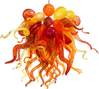 A Blown Glass and Steel Horn and Gourd Chandelier in the Manner of Dale Chihuly, des