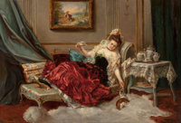 J. Forman (19th Century) A Resting Beauty Oil on canvas 19 x 27 inches (48.3 x 68.6 cm) Signed