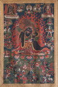 Asian:Chinese, A Tibetan Thangka Depicting Mahakala and Associated Deities, 19thcentury. 58 inches high x 30-1/2 inches wide (147.3 x 77.5...