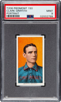 1909-11 T206 Piedmont 150 Clark Griffith (Portrait) PSA Mint 9 - Pop One, None Higher!