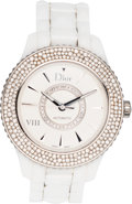 """Luxury Accessories:Accessories, Christian Dior White Diamond Christal Watch. Condition: 2. 6.25"""" Circumference. ..."""