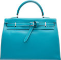 """Luxury Accessories:Bags, Hermes 35cm Turquoise Swift Leather Kelly Flat Bag with PalladiumHardware. J Square, 2006. Condition: 2. 14""""Widt..."""