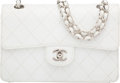 """Luxury Accessories:Bags, Chanel White Quilted Caviar Leather Small Classic Single Flap Bag with Silver Hardware. Condition: 4. 9"""" Width x 6"""" He..."""