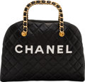 "Luxury Accessories:Bags, Chanel Black Quilted Lambskin Leather Medium Bowling Bag .Condition: 4. 13.5"" Width x 10"" Height x 3.5"" Depth...."