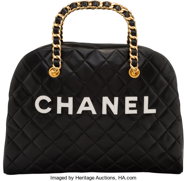 Chanel Black Quilted Lambskin Leather Medium Bowling Bag  0e1077d5e76a0