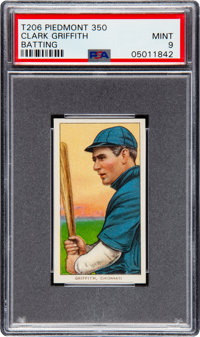 1909-11 T206 Piedmont 350 Clark Griffith (Batting) PSA Mint 9 - Pop One, None Higher!