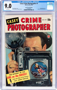 Casey-Crime Photographer #1 Mile High Pedigree (Marvel, 1949) CGC VF/NM 9.0 White pages