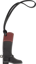 """Luxury Accessories:Accessories, Hermes Black Chamonix & Rouge H Swift Leather Paddock Botte Charm with Palladium Hardware. Condition: 1. 3.5"""" Width x ..."""