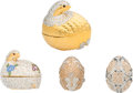 Luxury Accessories:Accessories, Judith Leiber Set of Four: Two Grouse & Two Egg Pill Boxes. Condition: 2. See Extended Condition Report for Sizes . ... (Total: 4 Items)
