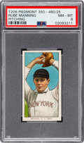 Baseball Cards:Singles (Pre-1930), 1909-11 T206 Piedmont 350-460/25 Rube Manning (Pitching) PSA NM-MT 8 - Pop Two, None Higher! ...