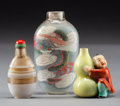 Asian:Chinese, Three Chinese Porcelain, Agate, and Reverse Painted Glass SnuffBottles. Marks to porcelain bottle: Six-character Qianlong s...(Total: 3 Items)