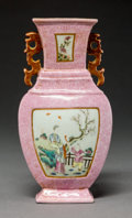 Asian:Chinese, A Chinese Famille Rose Porcelain Wall Vase, late Qing-earlyRepublic Period. Marks: Four-character Qianlong mark but of a la...