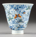 Asian:Chinese, A Chinese Doucai Porcelain Cup with Hundred Butterflies Motif.Marks: Six-character Kangxi mark. 2-7/8 inches high x 3-1/8 i...