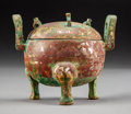 Asian:Chinese, A Diminutive Chinese Bronze Ding-Form Tripod Censer and Cover, HanDynasty, 206 BC-220 AD. 3 h x 3-5/8 w x 2-7/8 d inches (7...