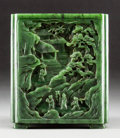 Asian:Chinese, A Large Chinese Carved Spinach Jade Squared Brush Pot withLandscape Motifs, Qing Dynasty. Marks: Four-character Qianlongma...