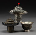 Asian:Chinese, Three Tibetan Silver Cup Holders and Cup, late 19th-early 20thcentury. 4-1/2 inches high x 4-7/8 inches diameter (11.4 x 12...(Total: 5 Items)