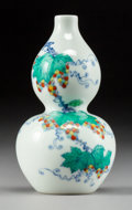 Asian:Chinese, A Miniature Chinese Doucai Porcelain Double Gourd Vase withSquirrel and Grape Motif, late Qing Dynasty-Republic Period. Mar...