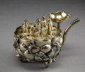 Asian:Chinese, A Chinese Export Gilt Silver Lotus-Form Water Vessel with FloatingEight Immortals and Guanyin Figures Attributed to Hong Ji...