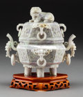 Asian:Chinese, A Chinese Carved Jadeite Covered Censer on Hardwood Stand, 20thcentury. 7-3/4 h x 8 w x 4-3/4 d inches (19.7 x 20.3 x 12.1 ...