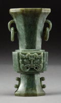 Asian:Chinese, A Chinese Carved Spinach Jade Gu Vase, Qing Dynasty. 5-1/2 incheshigh (14.0 cm). ...