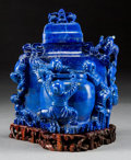 Asian:Chinese, A Chinese Carved Lapis Lazuli Double Figural Vase on HardwoodStand. 6-3/8 h x 6-1/4 w x 5 d inches (16.2 x 15.9 x 12.7 cm) ...(Total: 4 Items)