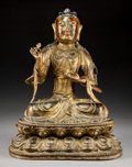 Asian:Chinese, A Large Chinese Lacquered and Gilt Bronze Seated Figure of Guanyin,Qing Dynasty, Kangxi Period, circa 1662-1722. M...
